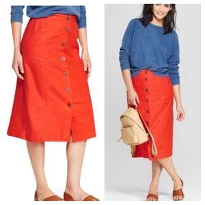NWOT Universal Thread Red Button Down Skirt